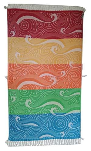 JOEBY SHERFEY Designer-Handtuch für Strand, Bad, Pool, Reisen, Urlaub, Yoga, Spa, Baumwolle, sandfrei, weich, leicht, dünn, schnelltrocknend, groß, Waves (Summer Bright), 160 x 90cm -