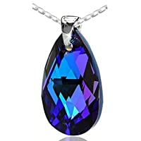 Purple Blue 925 Sterling Silver Made with Swarovski Elements Teardrop Pendant Necklace for Women on a chain,18""