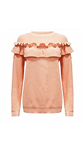 JAVOX Fashion's WOMENS LADIES LONG SLEEVES FRILL DETAIL PATCH CHUNKY KNITTED JUMPER TOP (ML 12-14,