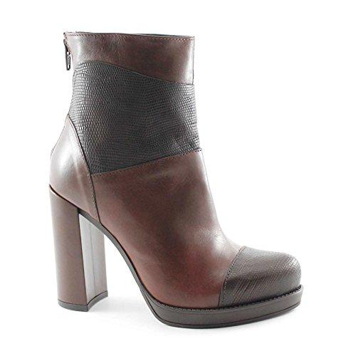 DIVINE FOLLIE 42184 cioccolato stivaletti donna tronchetti zip tacco plateaux 39
