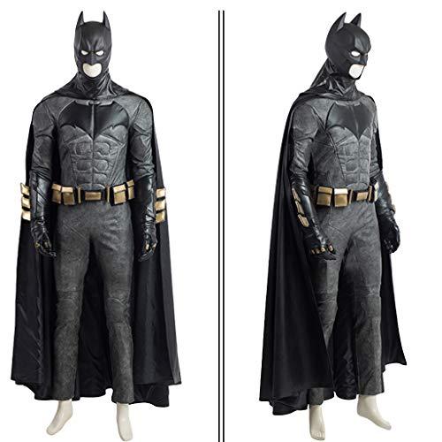 nihiug Superheld Gerechtigkeit Liga Batman Schlacht Cosplay Gürtel Mantel Leder Anzug männlich Halloween-Kostüm,Black-2XL(183to187)