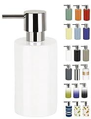 Idea Regalo - Spirella - Dispenser per Sapone Liquido in Porcellana Dura, Modello Tube, Colore: Bianco