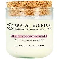 Große Duftkerze im Glas 250 g Rosenduft Kerze aus Sojawachs blumiger Duft Revivo Candela handgegossen in Hamburg