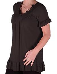 Eyecatch - Jovina Damen Tunika mit Rüschen Top mit Halskette Kurzarm Frauen Plusgroben