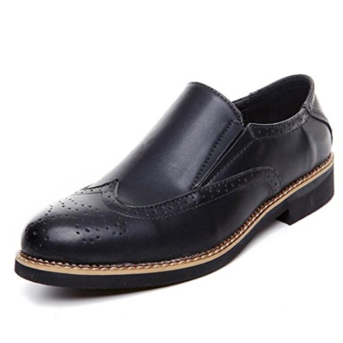 Men's Brogue Cut Outs Pointed Toe PU Leather Formal Shoes Black