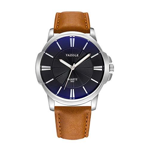 Knowin Uhren 2019 Mode Yazole Herrenuhr Top Marke Business Männliche Uhr Quarz-Armbanduhr Freizeit Leder Quarzuhr Einfache koreanische Version der großen Herrenuhr mit Zifferblatt Geschäft