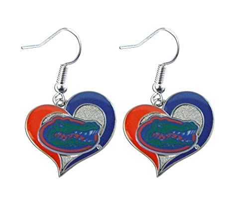 NCAA Florida Gators 3/4 Swirl Heart Shape Dangle Logo Earring Set Charm Gift by aminco