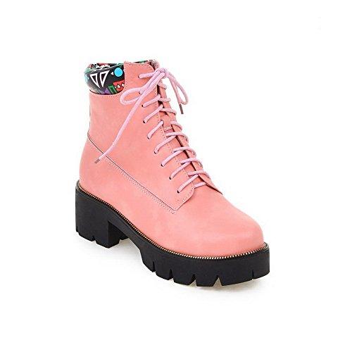 AllhqFashion Damen PU Mittler Absatz Plattform Schnüren Rund Zehe Stiefel mit Knoten, Pink, 39
