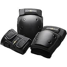 ONE TRI - Set de protectores para skateboard y longboard, todo el año, unisex, color negro - negro, tamaño small