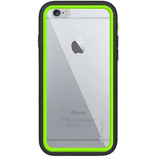 Amzer Crusta edge2edge gehärtetes Glas und Holster Tasche Schutzhülle Case Cover Hülle Schale Für iphone 6, schwarz schwarz / grün