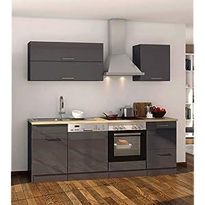 lifestyle4living Küche mit Elektrogeräten 220cm   Küchenzeile Küchenblock Einbauküche E-Geräte   Hochglanz Grau/Eiche Sonoma