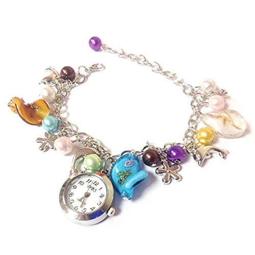 GirlZ! Colorful Faux Pearl Dolphin Bracelet with watch for Women
