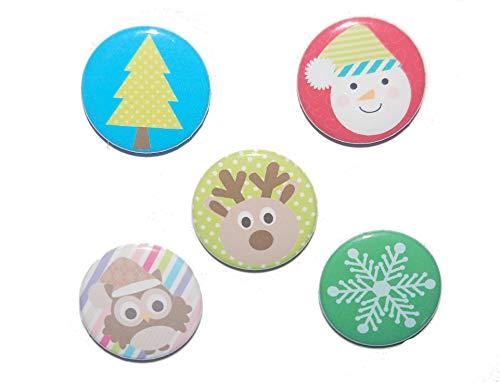 Magnetset Magnet Set Weihnachten Kühlschrankmagnet Größe: 50mm rund 5 Stück -