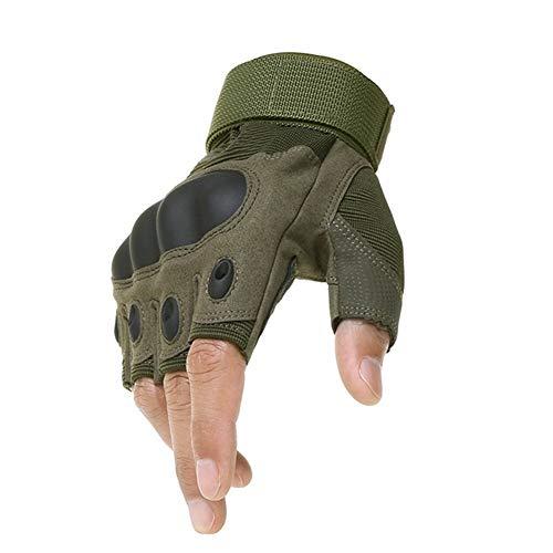 Guanti Ridding Guanti tattici da esterno tattici Esercito militare Tiro Escursionismo Caccia Arrampicata Ciclismo Palestra Equitazione Airsoft Guanti mezze dita (Color : Green, Size : M)