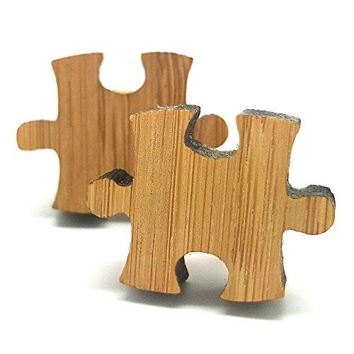 BOBIJOO Jewelry - Paar Manschettenknöpfe aus Natürlichem Bambus Form puzzleteil Metall Mann
