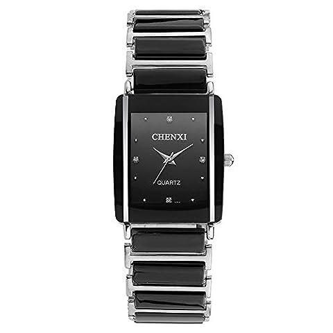 Fashion Rectangle Luxury Ceramic Strap Quartz Men Wrist Watch, Black