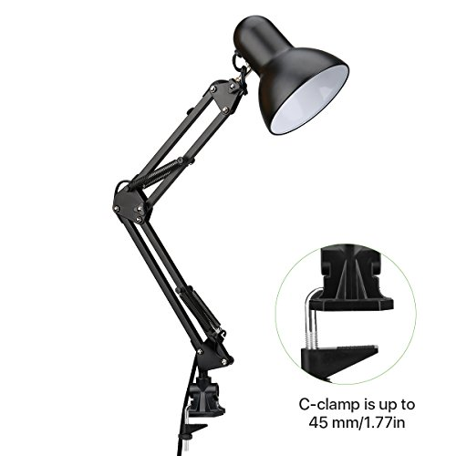 comprare on line LE lampada da tavolo classica con Base + Morsetto a C Attacco Regolabile Luce da lavoro per Leggere Studiare Disegnare lampadine E27 prezzo