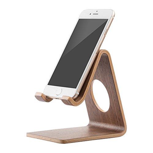 Mulor Handy Ständer Smartphone Halterung Holz Schreibtisch Universal für iPhone Samsung Huawei (B-Schwarze Walnuss)