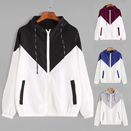 Frauen Langarm Patchwork dünne Skin Suits mit Kapuze Reißverschluss Taschen Sport Mantel (M, Grau)