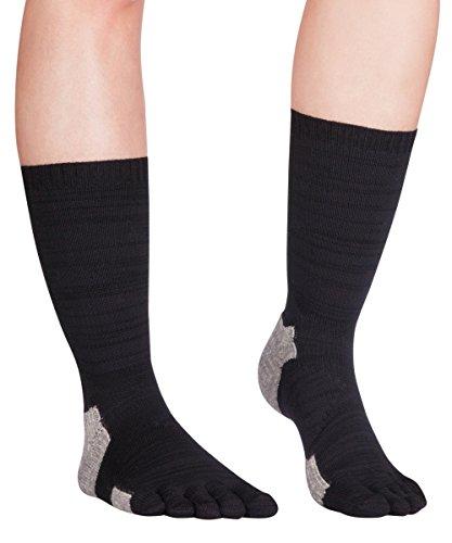 Knitido Endura TS Merino | Extra-robuste Outdoor-Zehensocken für das ganze Jahr, Größe:43-46, Farbe:schwarz / grau (Unterstützung Endura)