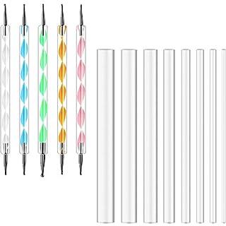 13 Stück Mandala Rock Dotting Werkzeuge Nagel Kunst Malwerkzeuge Set, Einschließlich 8 Größen Flachkopf Acryl Punktstab und 5 Stück Stylus Stifte für DIY Weihnachtskarten Geschenk Boxen (Trasparente)