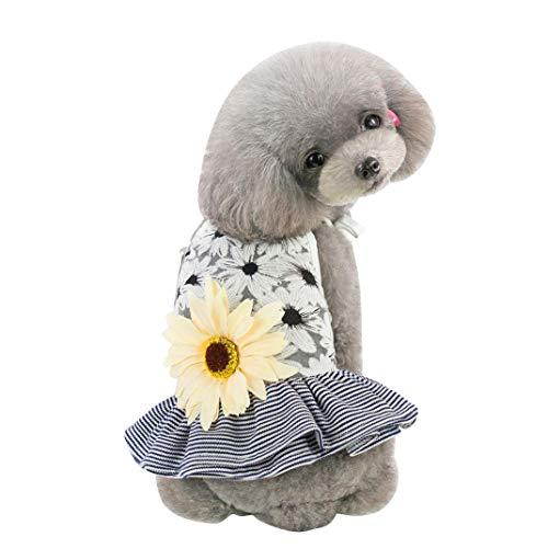 GUOCU Robe pour Animal Domestique avec nœud en Gaze Tutu Robe de Princesse Jupe désherbage pour Chiot Chien Chat Noir S