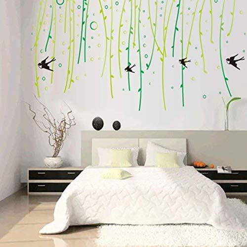 New Willow Tree Swallows Wohnzimmer Haushaltsverzierung Wandaufkleber An Der Wand 88 * 160 Cm (Swallow Tree)