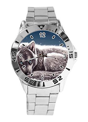 Snow Wolf Custom Design Analog Armbanduhr Quarz Silber Zifferblatt Klassisch Edelstahl Band Damen Herren Armbanduhr
