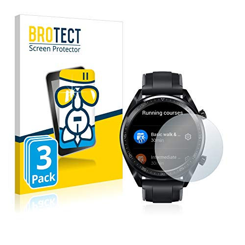 BROTECT Panzerglas Schutzfolie kompatibel mit Huawei Watch GT/GT Active [3er Pack] - Flexibles Airglass, 9H Härte