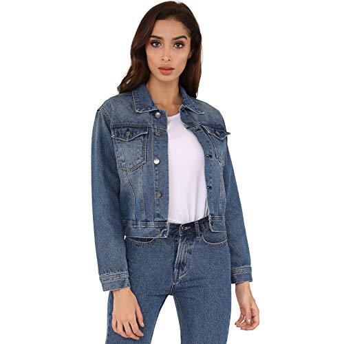 Hocaies Damen Jeansjacke Kurz-Jacke Vintage Langhülse Beiläufige Outwear Übergangsjacke Leichte Jacke Denim Taillierte (L, Dunkelblau)