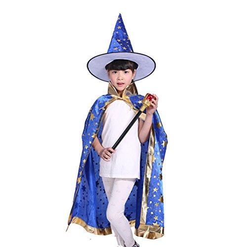 stüme Hexe Zauberer Umhang mit Hut für Kinder Kinder (blau) ()