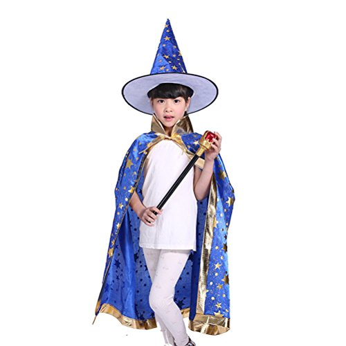 Tinksky Halloween Kostüme Hexe Zauberer Umhang mit Hut für Kinder Kinder (blau) (Blaue Hexe Halloween Kostüm)