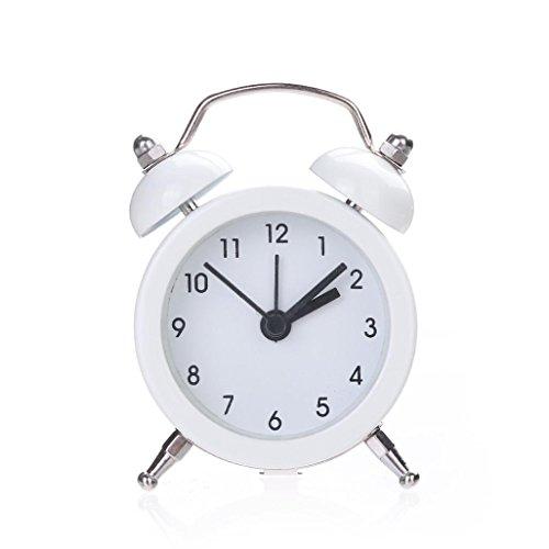 Niedlich Jahrgang Uhr HARRYSTORE Zwilling Glocke Leise Legierung Rostfrei Metall Nachtlicht Wecker (Weiß)