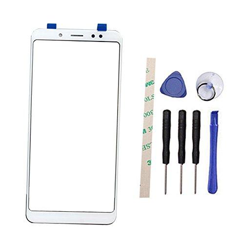 """Pantalla Frontal de Lentes de Vidrio Reemplazo Parte para Xiaomi Redmi Note 5 Pro 5.99"""" (No LCD Display No Digitizer) with Adhesive (Blanco)"""