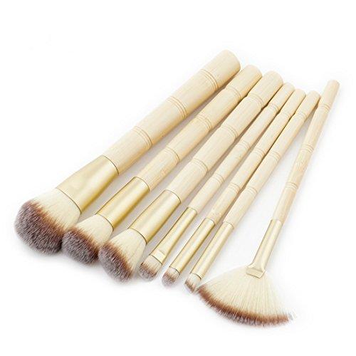 King Amour étoile 7 pcs/lot Lot de pinceaux de maquillage Original Poignée en bambou rouges à lèvres Fard à paupières Fond de teint correcteur Blush Brosse Pinceis de Maquiagem Maquillage Beauté outils