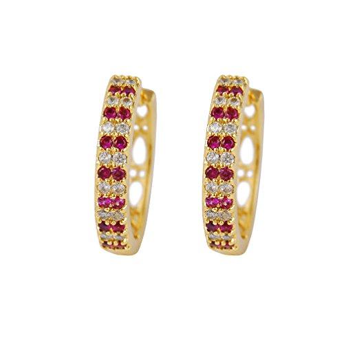 Yazilind 18K Gold Plated Cubic Zirconia Hollow Hoop Huggies Earrings for Women Jewelry Gift