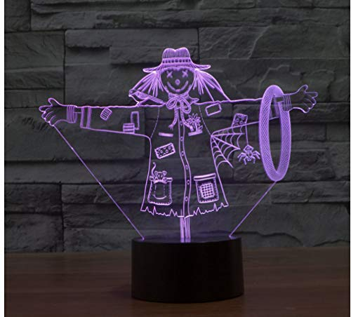 3D Led Vogelscheuche Nightlights Lampe Der Zauberer Von Oz Nachtlichter Usb Touch Tischlampe 7 Farbe Für Kinder Geschenk Spielzeug Dekoration ()