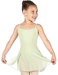DanceConnexxion Girl's Ballett Dress Leotard with Sewed On Chiffon Skirt and Adjustable Straps