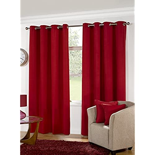 K LIVING Kliving 90 X 54 Inch 52% Polyester 48% Cotton Manhattan Plain  Panama Unlined Eyelet Curtains, Red