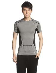NIKE Herren Kurzarm Shirt Hypercool Compression Top 2.0, Carbon Heather/Dark Steel Grey/Black, XL, 449838-091