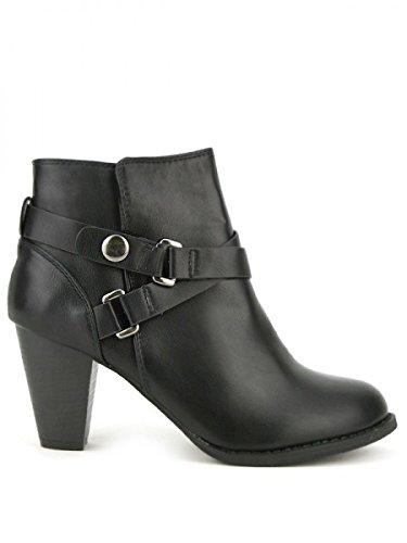 Cendriyon, Bottine Noire simili cuir LOOT'S Chaussures Femme Noir