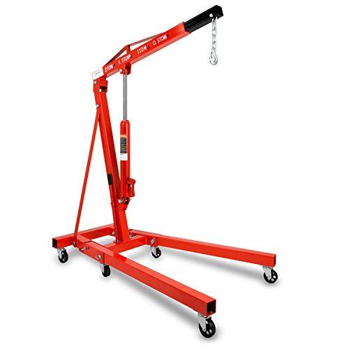 EBERTH 2000 kg Grue d'Atelier (Boum Grue 1050-1590 mm, 6 roulettes, Pliant, Vérin hydraulique Robuste)