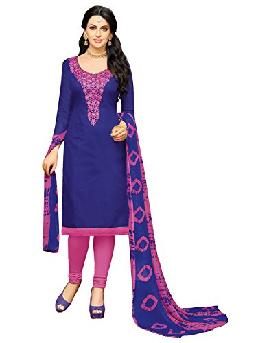 Pisara Women's Chanderi unstitched salwar suit dress material,Blue &Pink