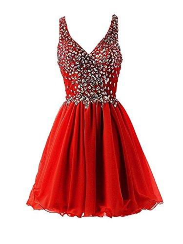 Charmant Damen Attraktive Luxurioes Steine Mini Abendkleider Partykleider Tanzenkleider Oberhalb von Knie Kurz Rot