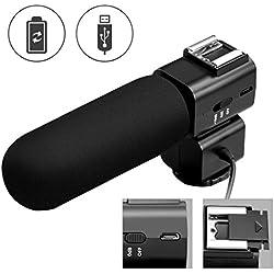 CRAPHY Micrófono Supercardioide Condensador para Cámaras Fotográfico Micrófono Escopeta Micrófono Externo Direccional Mic para DV Videocámara DSLR Canon Nikon Panasonic y PC (con Interfaz 3,5 mm TRS Jack)