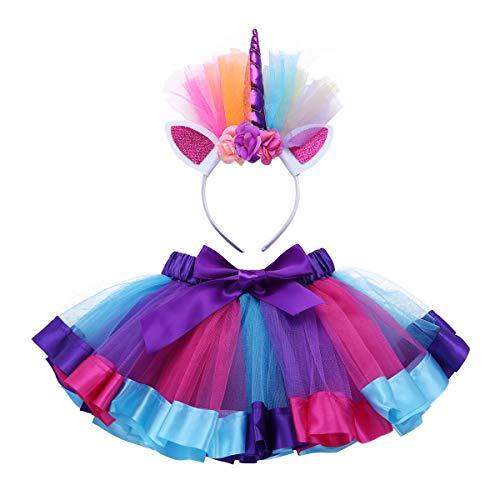 Tiaobug Regenbogen Tutu Rock, Einhorn Haarreif 2er Set Puffrock Ballettrock Unterrock Einhorn Kostüm Cosplay Tanz Party Verkleidung Outfits (104-110/4-5 Jahre, Violett&Rose)