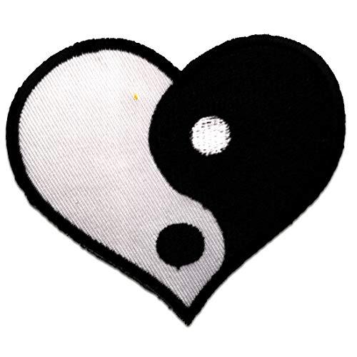 Aufnäher / Bügelbild - Yin Yang Symbol Herz - schwarz/weiß - 8,7 x 7,5 cm - Patch Aufbügler Applikationen zum aufbügeln Applikation Patches Flicken
