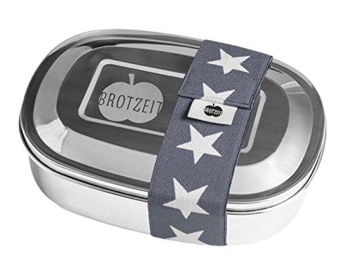 Brotzeit- Lunchbox Brotbüchse UNO Metall Edelstahl mit Band Schuleinführung, Grau