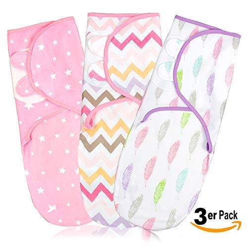 Pucksack Baby Wickel-Decke für 0-3 Monate 3er Pack mit verstellbaren Flügeln | 100{b009966c45f5055bf87a7f09d567279ed040d60b04babb1b6a90658ef2b38e33} Premium Baumwolle Schlafsack für Neugeborene, Säuglinge und Kleinkinder | Universal Decke für Mädchen