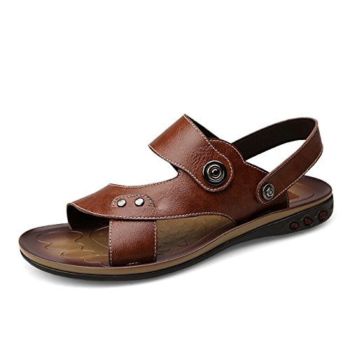 GAOJIAN Estate Nuovo uomo in pelle sandali pistoni della spiaggia Hollow Pantofole portatile di modo , 606 brown , 40 standard leather shoes